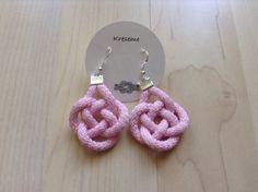 Cotton earring. Knot earring. Celtic knot earring. Pink by Kreseme