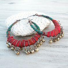 Gypsy Hoop Earrings Medium Silk Wrapped Bohemian by GypsyIntent, $47.00
