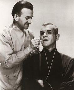 Makeup legend Jack Pierce touches up Boris for The Black Cat, 1934