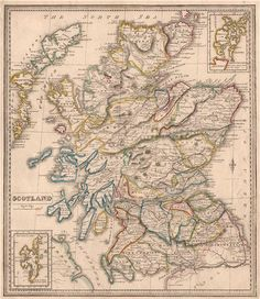 SCOTLAND showing counties & railways. Original outline colour. JOHNSON, 1850 map Barn Loft, Antique Maps, Outline, Scotland, Vintage World Maps, Colour, The Originals, Antiques, Old Maps