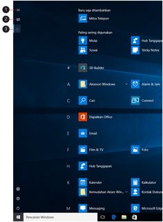 Gambar layar penuh Mulai dengan keterangan tombol menu