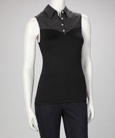 10242d5bd89 SkinnyShirt Black Polka Dot Skinnyshirt No-Bulk Collared Sleeveless Top. Collar  Shirt With SweaterCollar ShirtsSpandex ...