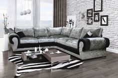 Big and comfortable Tango Crushed Velvet fabric corner sofa suite, Left or Right Corner, Swivel/Cuddle Chair. Seats with super thick and high density foam wrapped with fibre to give it round shape and extra comfort. Corner Sofa Crushed Velvet, Crushed Velvet Living Room, Velvet Corner Sofa, Leather Corner Sofa, Crushed Velvet Fabric, Living Room Grey, Living Room Decor, Living Rooms, Cozy Living