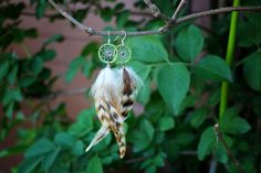 Green Striped Dream Catcher Earrings by nZuriArtDesigns on Etsy