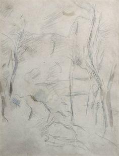 Paul CEZANNE (1839-1906)  Felsen und Bäume (Rochers et arbres), 1890-1895 Dessin à la mine de plomb et aquarelle 46 x 35 cm