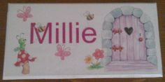 Childrens personalised name plaques. Door Plaques, Name Plaques, Wooden Plaques, Bedroom Door Signs, Bedroom Doors, Personalized Plaques, Personalised Gifts, Handmade Crafts, Diy Crafts