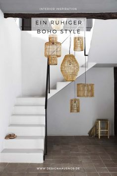 [ Inspiration déco ] The ethnic decoration and wabi sabi - Decoration For Home Wabi Sabi, Hanging Lamp Design, Hanging Lamps, Casa Wabi, Stairway Lighting, Foyer Lighting, Bamboo Lamp, Turbulence Deco, Interior And Exterior