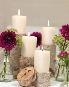 Rustic candle centerpiece idea.