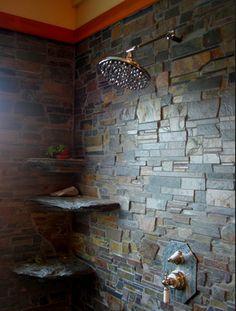 Elegant Stone Bathroom Design Home Ideas Slate Shower, Rustic Shower, Rock Shower, Rustic Bathroom Designs, Rustic Bathrooms, Stone Bathroom, Bathroom Mirrors, Neutral Bathroom, Bathroom Showers