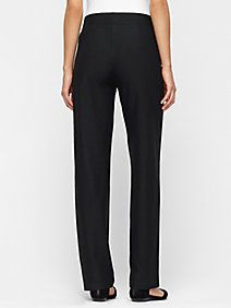 Straight-Leg Pant with Yoke in Washable Stretch Crepe in Midnight (blue)