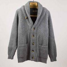Grey mix shawl collar lambswool cardigan jacket