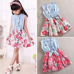 Girls Sundress Tutu Skater Dresses Baby Casual Summer Sleeveless Party Dress