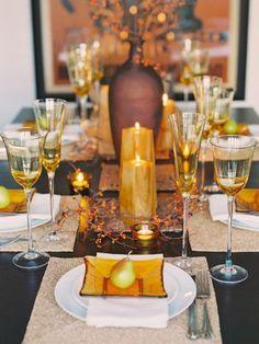 tischdeko- Hochzeit im Herbst goldene-orange-nuancen