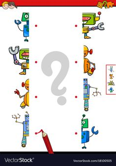 Match halves of robots cartoon game Royalty Free Vector Cognitive Activities, Kids Learning Activities, Robot Cartoon, Cartoon Games, Free Preschool, Preschool Worksheets, Free Printable Puzzles, Kids Schedule, First Grade Reading