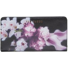 Ted Baker Maylam Ethereal Posie Crosshatch Matinee Purse, Black ($120) ❤ liked on Polyvore featuring bags, wallets, floral print wallet, 100 leather wallet, black bag, black leather bag and ted baker