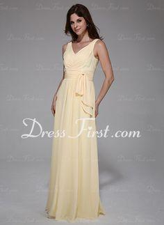 A-Line/Princess V-neck Floor-Length Chiffon Evening Dress With Ruffle (017025777)