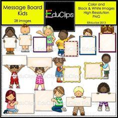 Message Board Kids Clip Art Bundle by EduClips on Etsy, $4.95
