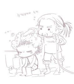 Bath time #Thor #Loki