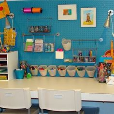 Pegboard kid's craft area. I like this because it's adaptable as the child ages, or as multiple children need to use the space.