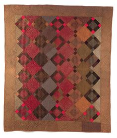 The Quilt Index Unequal nine patch from Illinois 1870