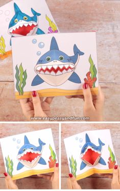 Hai-Pop-up-Karte - Basteln ideen Shark pop-up card Shark pop-up card The post shar Paper Crafts Origami, Paper Crafts For Kids, Diy Arts And Crafts, Creative Crafts, Projects For Kids, Diy For Kids, Fun Crafts, Boat Crafts, Turtle Crafts