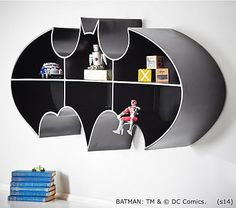 POTTERY BARN KIDS BATMAN LOGO IRON SHELF IN BLACK