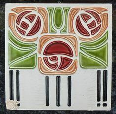 Jugendstil Fliese art nouveau tile Tegel Saargemünd Rose Blüte stilisiert rar