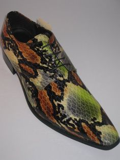 Gucinari Gucinari 16001 Mens Leather 4-Eyelet Lace-Up Faux Snakeskin Shoes - Green, Black  Tan: Amazon.co.uk: Shoes  Accessories