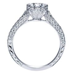 Dinah 14k White Gold Round Straight Engagement Ring angle 2