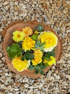Yellow flowers and succulents