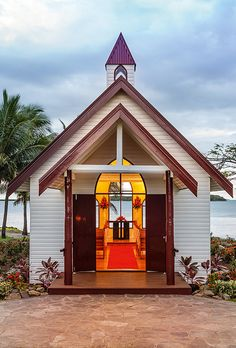 Have a religious ceremony, a non-religious ceremony, or a colorful Fijian-style wedding (complete with Fijian musicians and the island's signature frangipani flowers) in this quaint beachside chapel; Old Country Churches, Old Churches, Church Pictures, Take Me To Church, Cathedral Church, Romantic Destinations, Church Building, Chapelle, Place Of Worship