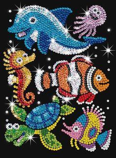 Sequin Art Junior Sealife - Best Picture For Sealife Art sketchbook Fo Button Art, Button Crafts, Dolphin Craft, Sequin Crafts, Art Perle, Sea Life Art, Rhinestone Art, Bottle Cap Art, Dot Art Painting