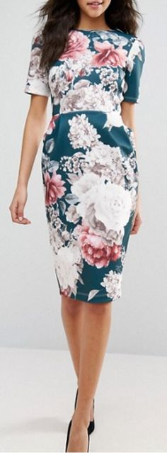 floral wiggle dress