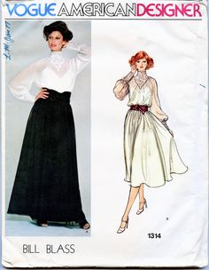 VOGUE 1314 DRESS PATTERN Lace Collar & Cuffs Maxi Evening Gown Cocktail Dress Bill Blass Size 14 Bust 36 UNCuT 1970s Womens Sewing Patterns by DesignRewindFashions on Etsy