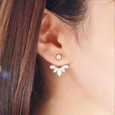 Flower Drops of Crystal, Double Sided Front and Back Earrings