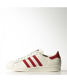 super popular d8f89 bdb43 Adidas Originals Superstar 80s Deluxe Vintage White Scarlet Off White Mens  Adidas006095 Yeezy Shoes, Adidas