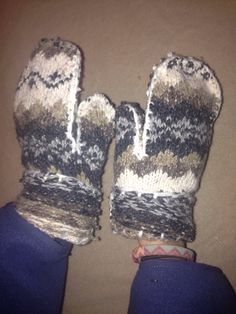 Brown and Cream Aztec Printed Fleece Lined Mittens  $12
