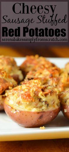 Cheesy Sausage Stuffed Red Potatoes serenabakessimplyfromscratch.com @idahopotato #SundaySupper #GameDayIdahoPotatoes
