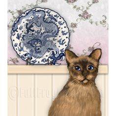 The Chinese Plate and Tibetan Cat Print by FullFrogMoon