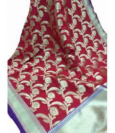 Red Handloom Banarasi Georgette Silk Dupatta