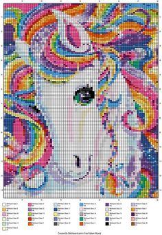 Rainbow horse cross stitch pattern