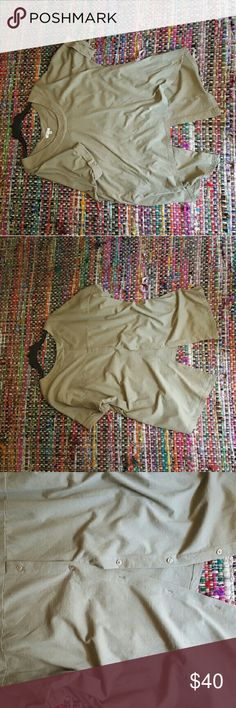 fly free Blouse Like new. olive gray color . Button down back . Brand : silence and noise. Urban Outfitters Tops Tunics