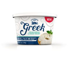 Greek Cream Cheese 12 oz. Tub. Available in the cream cheese section. 2X More Protein, 1/2 the Fat than regular cream cheese, Plus Live & Active Cultures