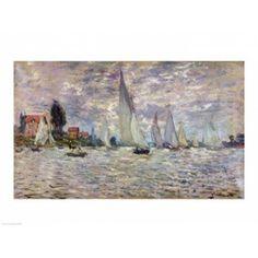 Posterazzi The Boats or Regatta at Argenteuil c1874 Canvas Art - Claude Monet (36 x 24)