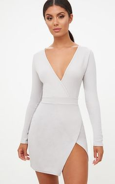 Ice Grey Plunge Wrap Detail Thigh Split Bodycon DressThis figure flattering dress is perfect for ...