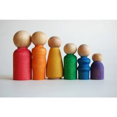 Wooden Toy Set -The Original Peek-a-Boo RAINBOW FAMILY- Waldorf-... ($25) ❤ liked on Polyvore featuring toys