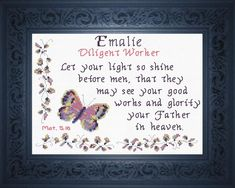 Emalie - Name Blessings Personalized Cross Stitch Design from Joyful Expressions Cross Stitch Designs, Cross Stitch Patterns, Stitch Delight, Favorite Bible Verses, Names With Meaning, Friendship Gifts, Gifts For Family, Cross Stitch Embroidery, Custom Framing