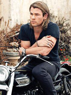 Chris Hemsworth on Motorbike