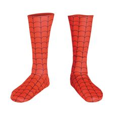 Red boot-style socks with black webbing. One size fits most adults