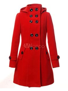 Women Trench Coat Red Peacoat Hooded Long Sleeve Double Breasted Button Woolen Overcoat